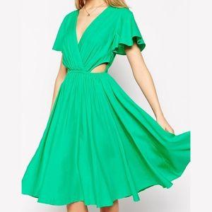 ASOS Flutter Sleeve Cutout Side Midi Dress Size 8